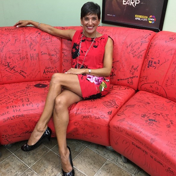 In the CHCH green room on it's inspiring sofa.