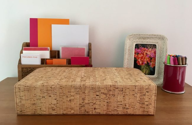 Cork cover conceals the HP Tango printer