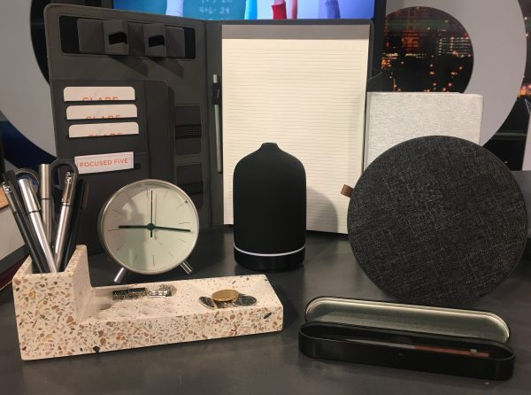 sleek office accessories in grey, silver and black