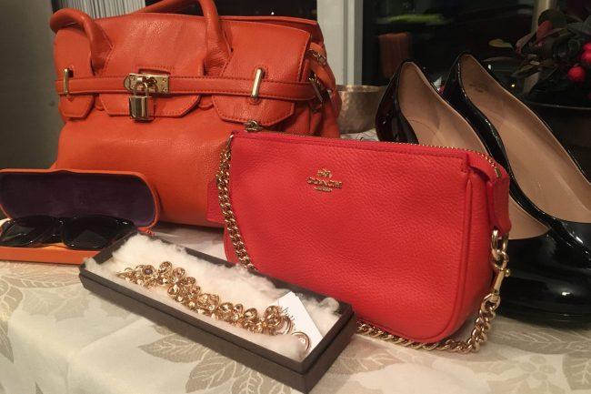 Handbag, small purse and jewelry