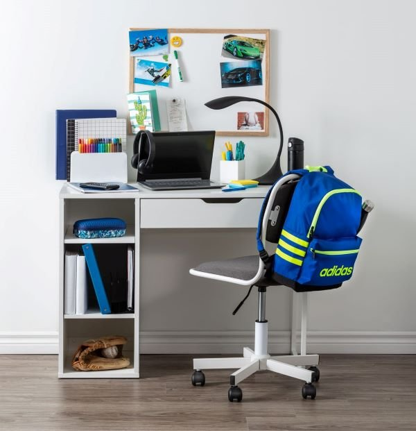 Student desk, chair and office supplies