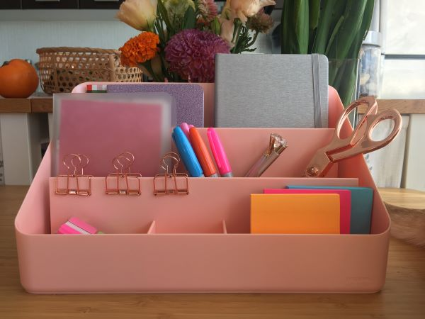 Blush coloured desk organizer
