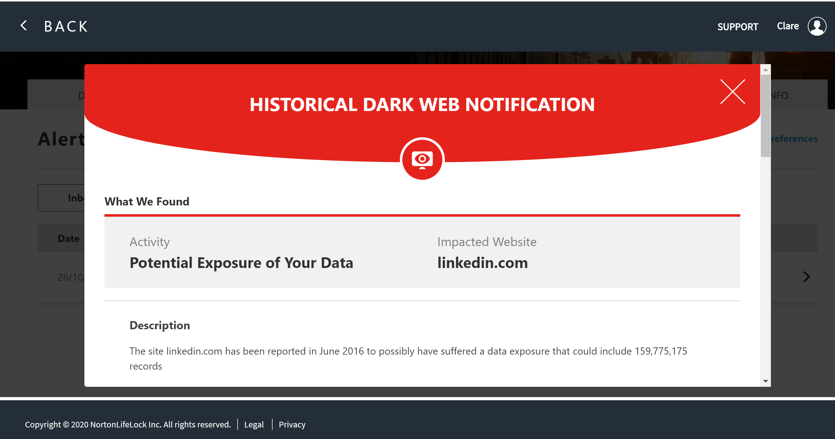 Dark Web Notification
